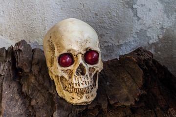 Human skull with red eye