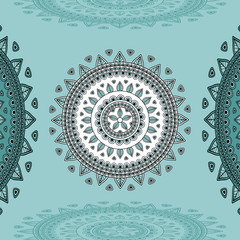Circular ornament on marine blue Background