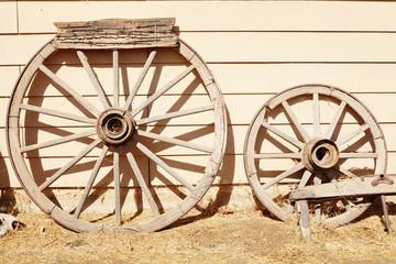 Old wooden cartwheels
