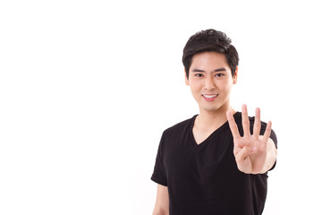 man raising, showing 4 fingers hand sign gesture
