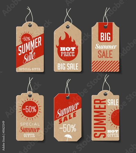 Cardboard Summer Sales Labels - 81621349