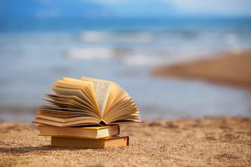 Books on a beach