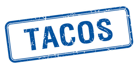 tacos blue square grungy vintage isolated stamp
