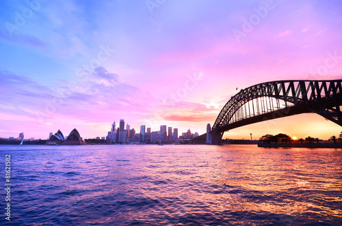 Plagát, Obraz Panorama of Sydney Harbour at dusk