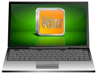 Laptop mit Webinar Button