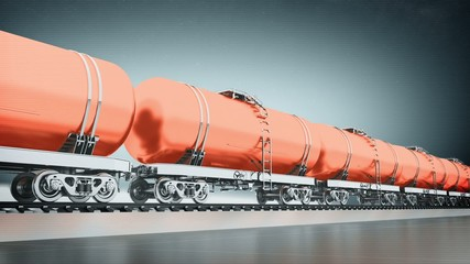 Orange train with petroleum tank cars side view loop animation