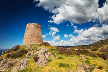 Sardinian landscape with ancient tower in spring