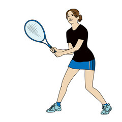 tennis girl illustration