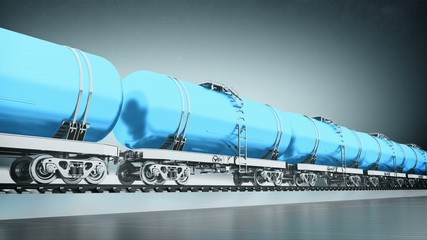 Blue train with petroleum tank cars side view looping animation