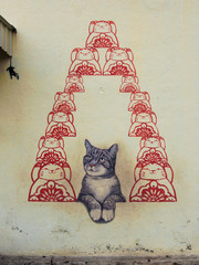 The mural of cat for luck