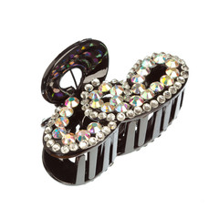 The black hairclip with rhinestones
