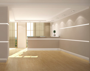 rendering of the office lobby