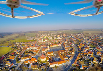 Aerial view from drone to small town Dobrany in Czech Republic.