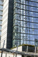 glass reflections at business hub, Milan