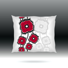 White Pillow with abstract square flowers