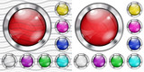 Set of transparent and opaque glass buttons poster