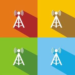 Iconos antena torre colores sombra