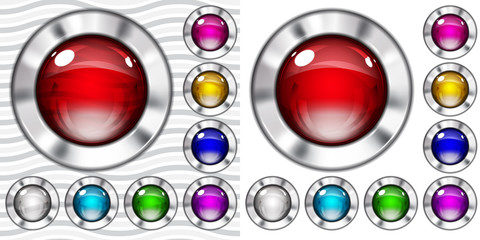 Set of transparent and opaque glass buttons