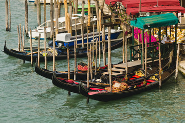 Le gondole sul Canal Grande a Venezia