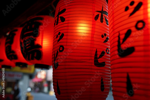 Foto Spatwand Japan Red lanterns in Japan
