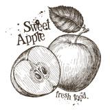 apple vector logo design template. fresh fruit, food or cooking