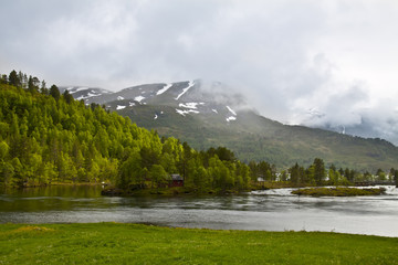 Norway scenery with fish house
