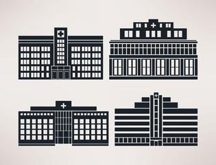 City hospital, icon Set, flat style, vector.