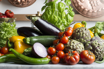 vegetables on the kitchen table