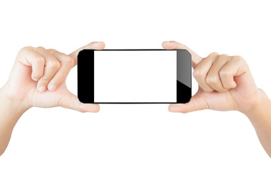 hand show smartphone isolated white clipping path inside
