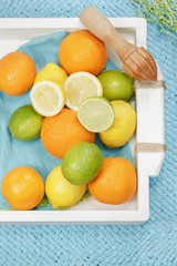 Citrus fruits and squeezer on vintage tray,blue background