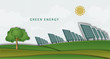 solar panels, batteries, on clean field. concept clean energy - 81625788
