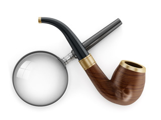 Classic Pipe and Magnifying Glass