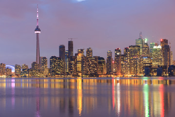 Toronto city waterfront skyline at twilight.