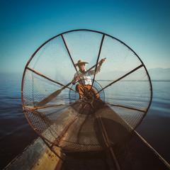 Traditional Burmese fisherman at Inle lake Myanmar
