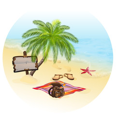 A vector illustration of seascape. Vacation concept