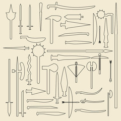 Medieval weaponry  linear icons illustration.