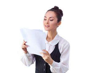 Successful  caucasian businesswoman reading documents