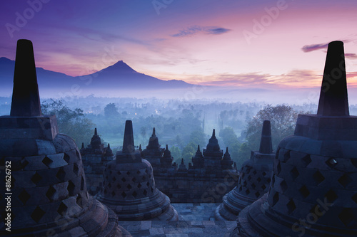 Leinwanddruck Bild Borobudur Temple is sunrise, Yogyakarta, Java,