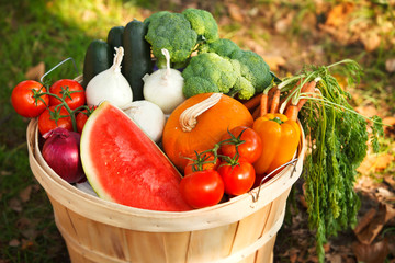 organic fruits and vegetables.