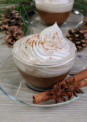 cup of cappuccino with cinnamon