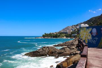 Leblon beach and Favela do Vidigal view