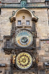 view of the Astronomical Clock, Prague, Czech Republic, Europe