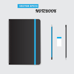 Realistic spiral notepad notebook. Vector illustration