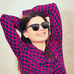 woman wearing trendy glasses