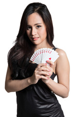 Pretty woman show a card.