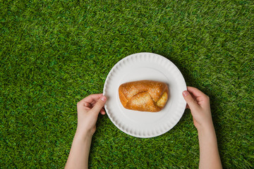 Hands holding empty paper plate with bun on grass