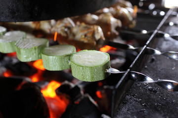 Zucchini and meat on skewers