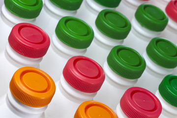 dairy products bottles with bright covers