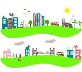 bannière dessin d'enfant d'immeubles en ville avec éolienne
