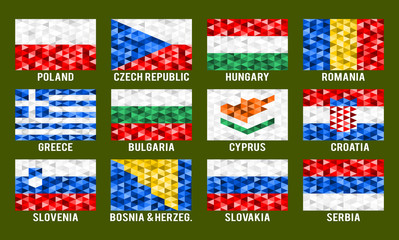 Central and South Europe low poly flags vector illustration